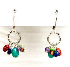 Handmade Sterling Dangle Earrings with Semiprecious Drops