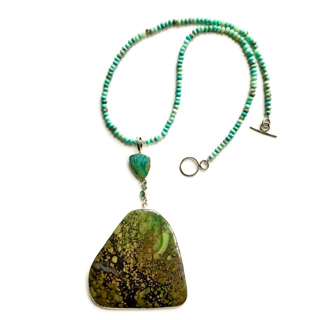 Remarkable Turquoise Pendant on Chrysoprase Necklace