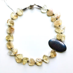 Striking Citrine & Oxidized Sterling Necklace
