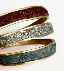 Thin Bronze & Pyrite Bangle Bracelet