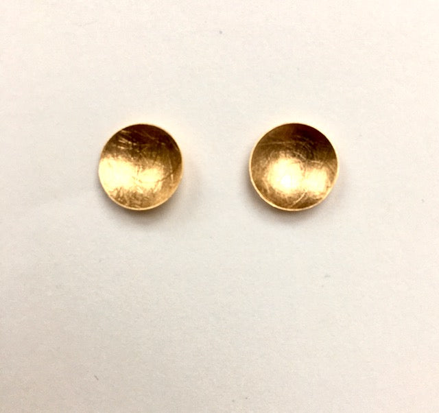 Brushed Gold Disc Earrings