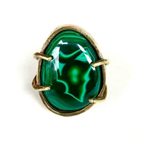 Malachite in Golden Brass  Ring