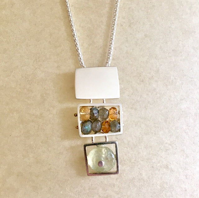 Sterling & Semiprecious Stone Necklace