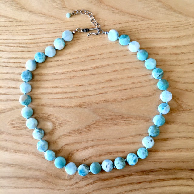 Exquisite healing Larimar hand knotted Necklace