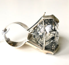 Sculptural One of a kind Tourmaline Quartz & Sterling Ring