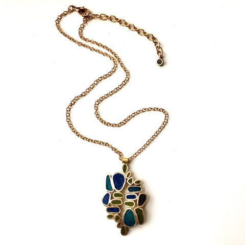 "Bronze ""Quarry"" Necklace in Blues & Greens"
