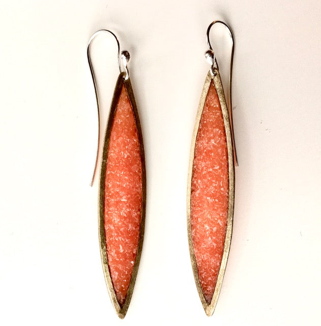 """Sliver"" Earrings in Bronze & Carnelian Quartz"