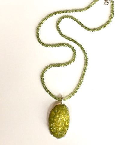 Crushed Peridot Herkimer Quartz & Sterling Oval Pendant Necklace