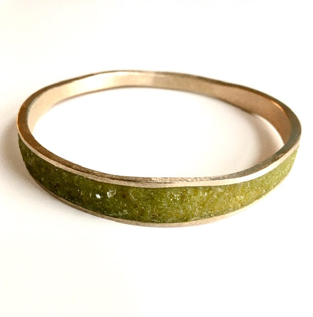 Thin Bronze & Peridot Bangle Bracelet