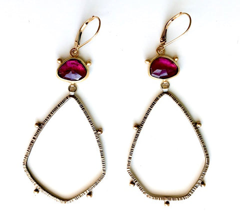 Rhodolite Garnet, 18k & Sterling Earrings