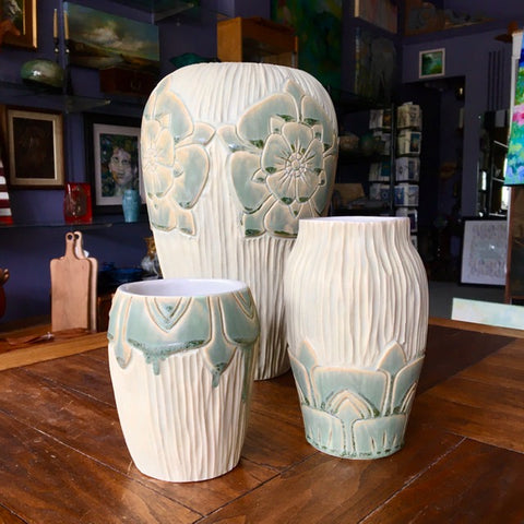Hand carved Porcelain Vases in Celadon Green