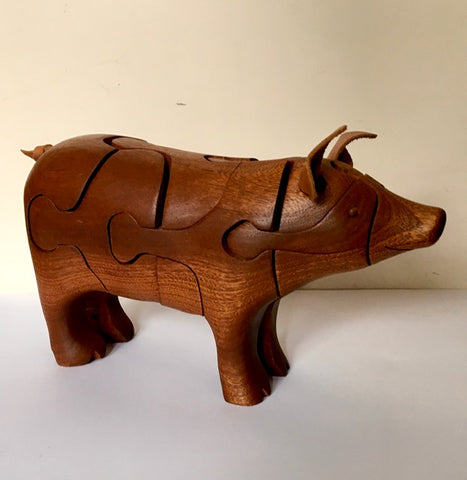 Sculptural wood Pig puzzle by Peter Chapman