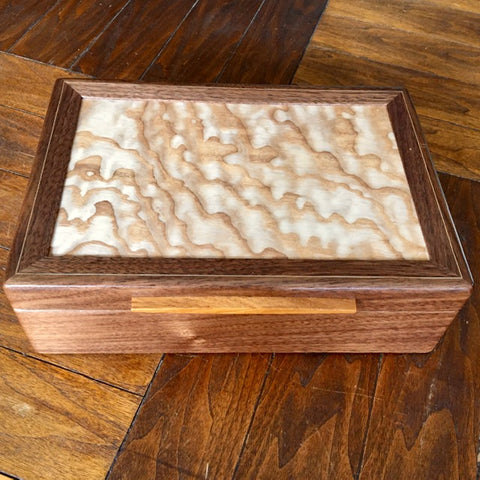Walnut and Teak Jewelry/Valet Box