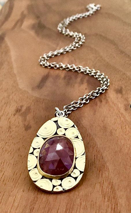 Red Sapphire, 18k & Sterling Necklace