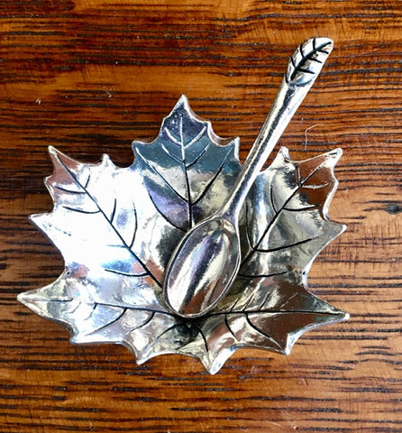 "Pewter ""Maple Leaf"" Salt Cellar and Spoon"