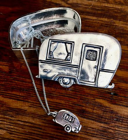 "Pewter ""Camper"" Keepsake Box and Necklace"