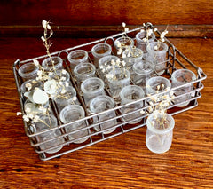 Antique Creamers in mini Crate from Vermont Diner ca. 1900