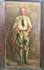 "Antique Oil Painting on Wood Panel  ""Man in Jodhpurs"""