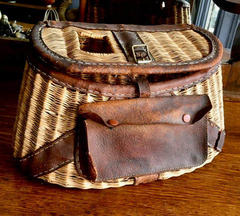 Vintage 50's  Fisherman's Wicker and Leather Creel Basket