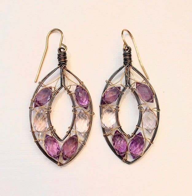 Amethyst Earrings with 14KGF & Sterling Silver