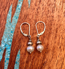 Pearl and Oxidized Sterling Earrings