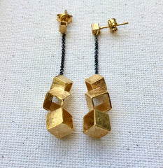 Brushed Gold & Sterling Geometric Drop Earring
