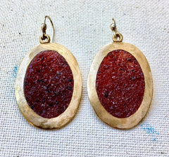 """Mirror"" Earrings in Bronze & Garnet"