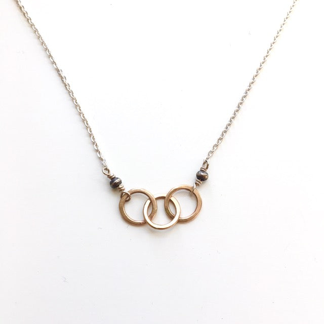 Sterling & 14KGF Interlocking Circles Necklace