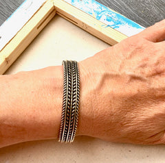 Textured Navajo Sterling Silver Cuff Bracelet