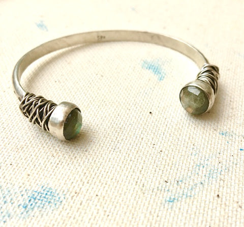 Sterling Silver Cuff with Labradorite