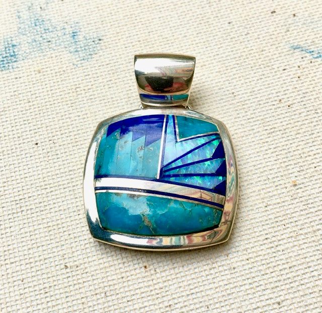 Navajo Sterling, Turquoise, Lapis & Opal Pendant