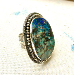 Opal and Sterling Statement Ring