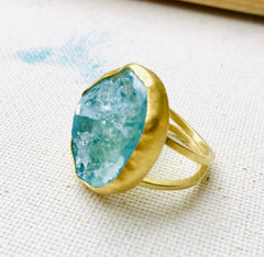 One of a kind Aquamarine & Gold Ring