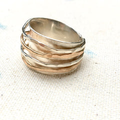 Wide Band Ring in Sterling and 14kGF