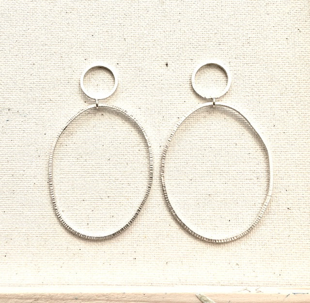 Organic Oval Dangle Earrings in Sterling