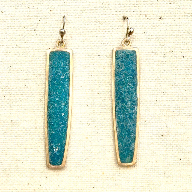 Bronze & Blue Quartz Earrings