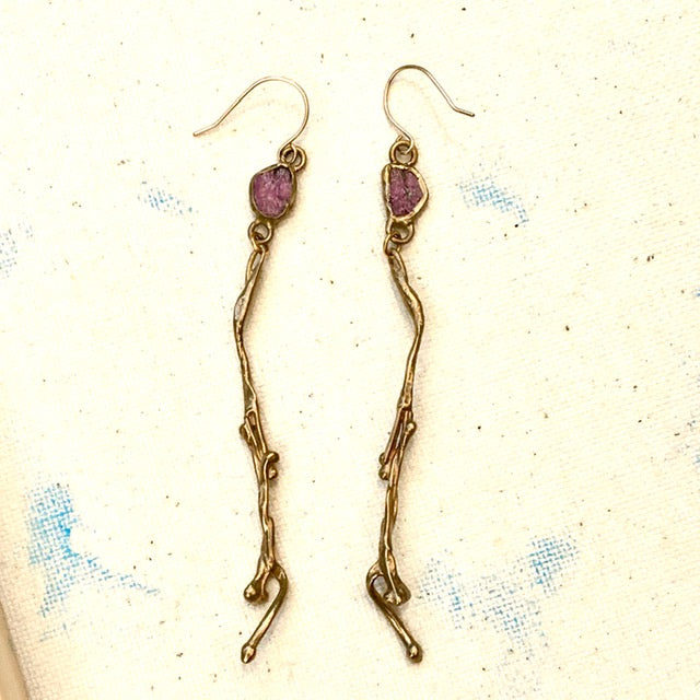 Weeping Willow Earrings with Rubies