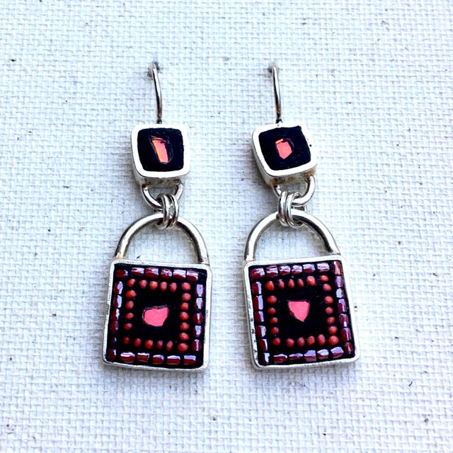 Sterling Silver Earrings with Multi Inlay