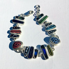 Sterling Silver Bracelet with Multi-Color Inlay