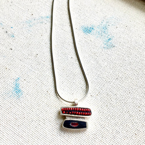 Sterling Silver Necklace with Multi Inlay
