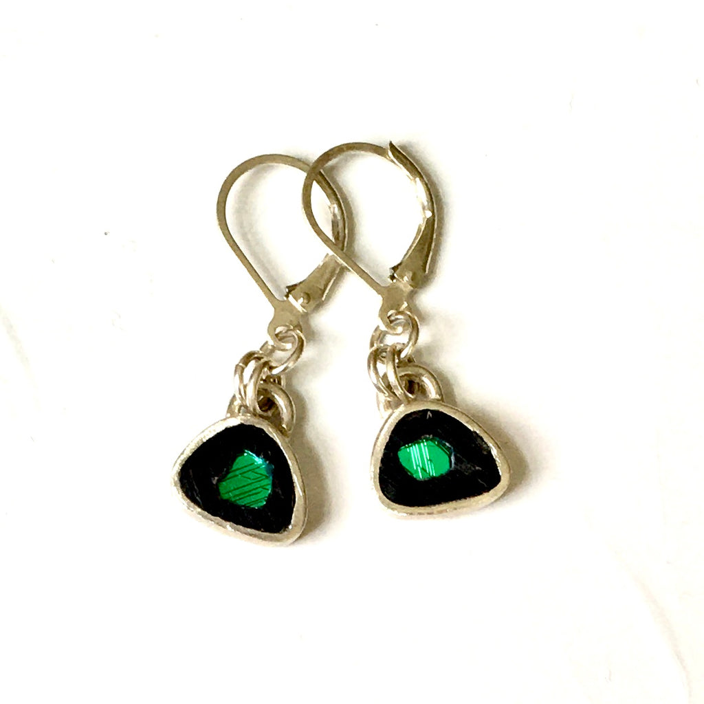 Tiny Sterling Earrings with Dichroic Glass