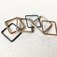 Set of Six Square Mixed Metal Stack Rings