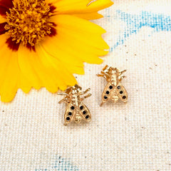 14k Gold and Black Diamond Bee Earrings