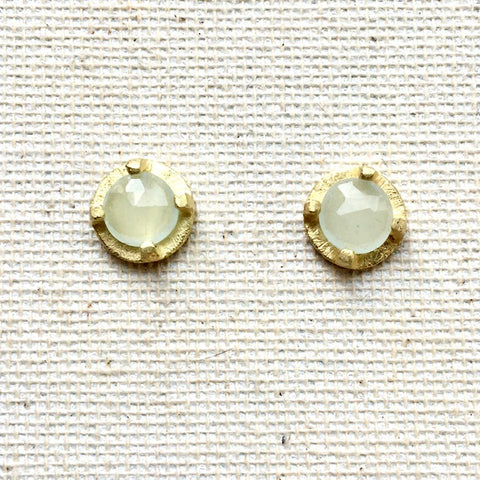 Prong Set Aquamarine & 18k Earrings