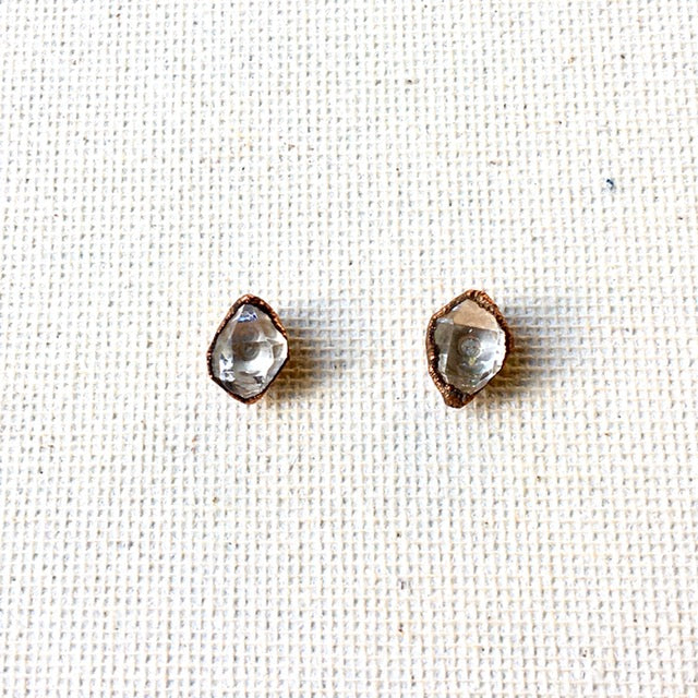 Herkimer & Copper Stud Earrings