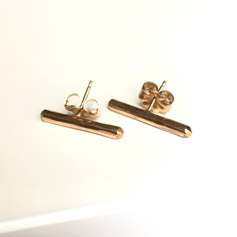14k GF Bar Stud Earrings