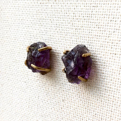 Brass & Amethyst Earrings