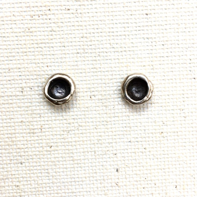 Small Sterling Pebble Earring