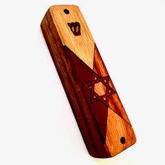 Wood Mezuzah w/ Inlay