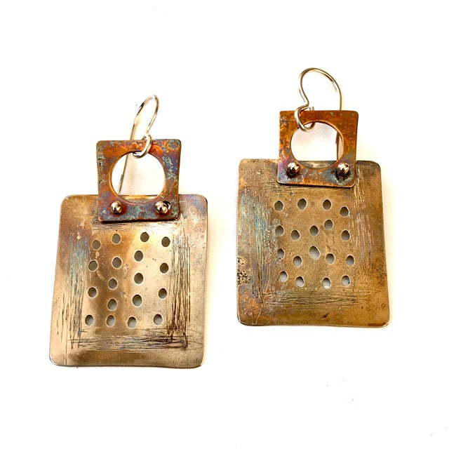 Handmade Brass and Sterling Earrings
